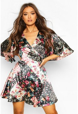 Black Patchwork Floral Wrap Skater Dress