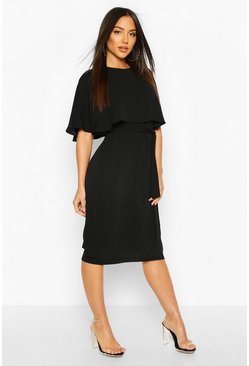 Black Cape Belted Midi Dress
