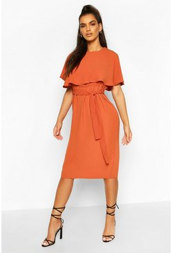 Rust Cape Belted Midi Dress