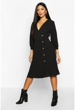 Womens Black Woven Button Detail Puff Sleeve Midi Dress