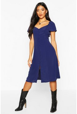Womens Navy Woven Button Through Sweetheart