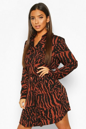 Womens Chocolate Animal Print Belted Shirt Dress