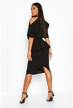 Black High Neck Cut Out Shoulder Peplum