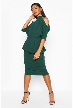 High Neck Cut Out Shoulder Peplum, Bottle green, Donna