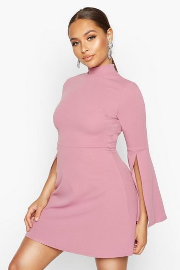 Womens Mauve High Neck Split Sleeve Skater Dress