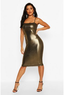 Womens Gold Metalliic Square Neck Strappy Midi Dress
