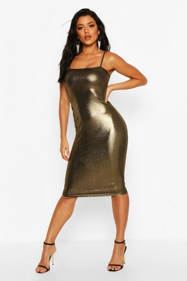 Gold Metalliic Square Neck Strappy Midi Dress