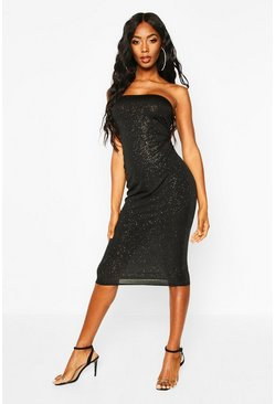 Womens Black Glitter Bandeau Midi Dress