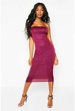 Purple Glitter Bandeau Midi Dress
