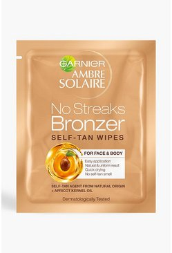 Garnier Ambre Solaire No Streaks Tan Face Wipes 5.6ml, Gold, Donna