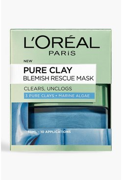 Mascarilla facial antiimperfecciones Pure Clay de L'Oreal Paris 50 ml, Azul
