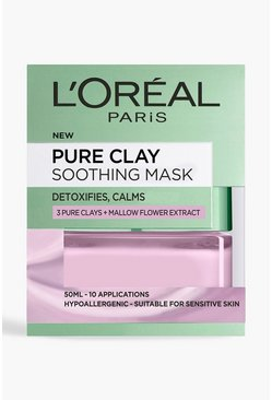 Mascarilla facial alisadora Pure Clay de L'Oreal Paris 50 ml, Rosa