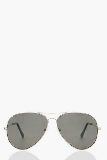 Womens Silver Oversized Aviator Sunglasses