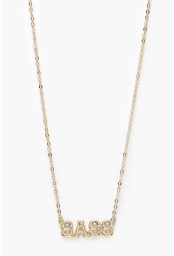 Womens Gold Sass Slogan Necklace