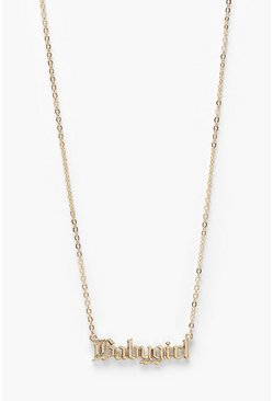 Baby Girl Slogan Necklace, Gold