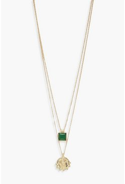 Womens Gold Jewel Detail Layered Necklace