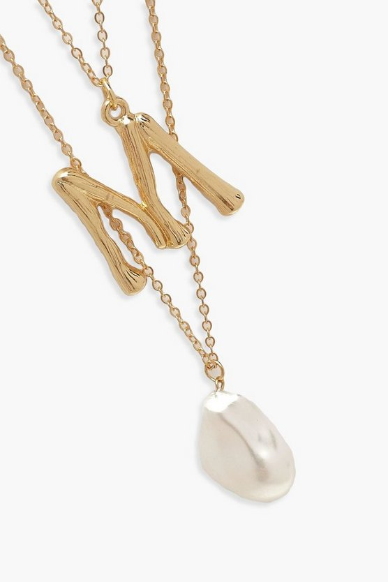 M Initial Layered Pearl Necklace