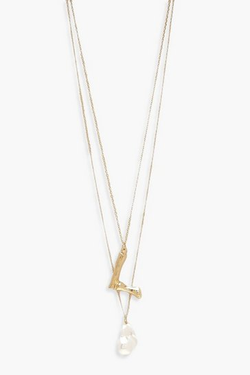 Womens Gold L Initial Layered Pearl Necklace