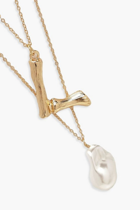 L Initial Layered Pearl Necklace