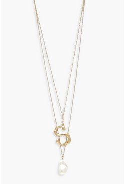 Womens Gold S Initial Layered Pearl Necklace