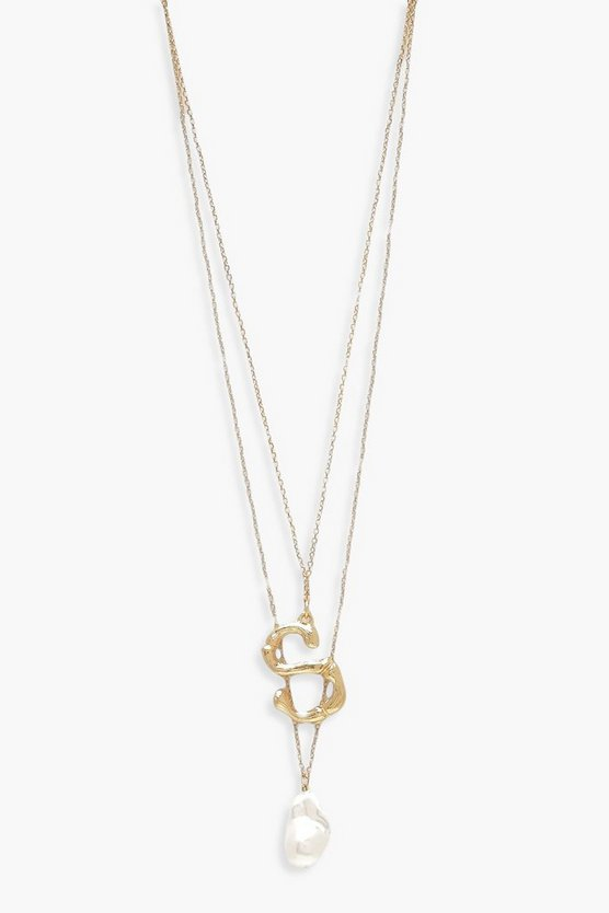 S Initial Layered Pearl Necklace