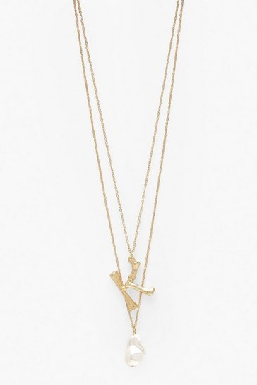 Womens Gold K Initial Layered Pearl Necklace