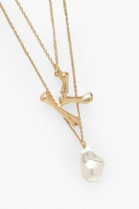 K Initial Layered Pearl Necklace