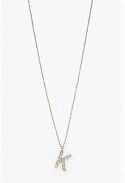 Silver Diamante Embellished K Initial Necklace