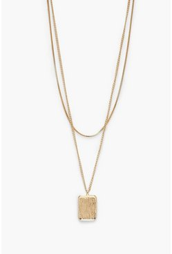 Womens Gold Tag Detail Layered Necklace