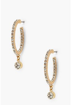 Gold Diamante Pendant Hoop Earrings