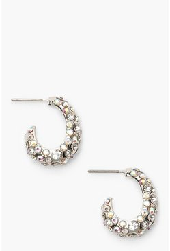 Womens Silver Textured Diamante Hoops