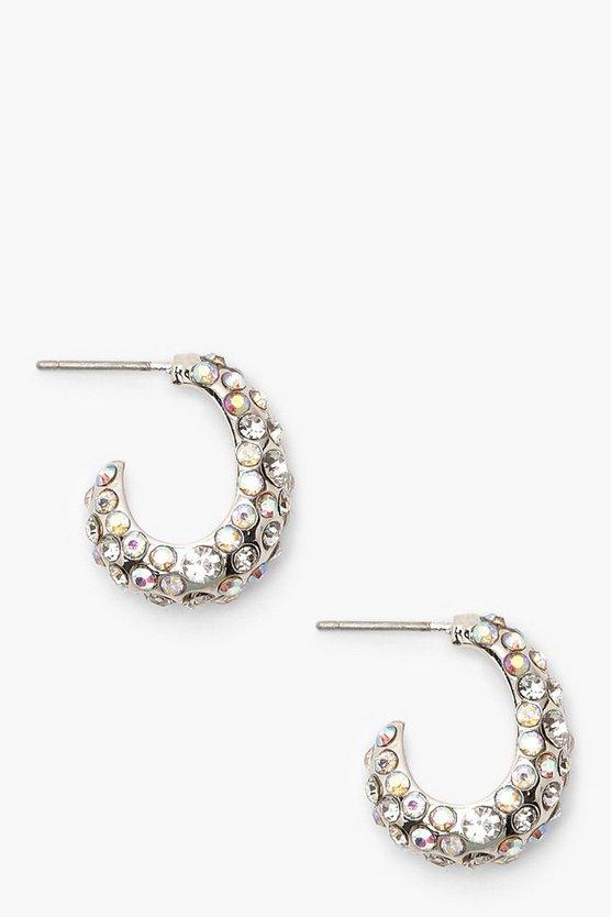 Textured Diamante Hoops