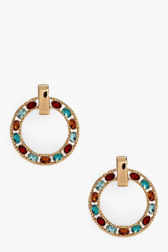 Multi-Coloured Gem Circle Earrings