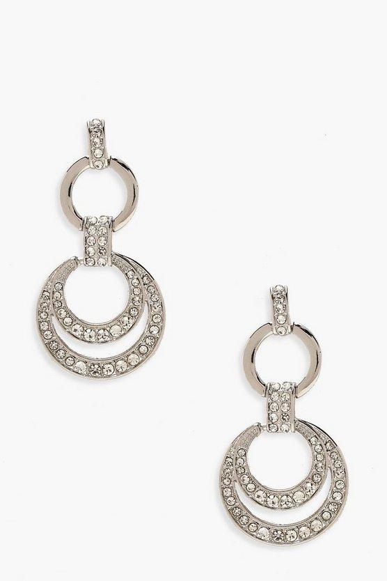 Double Circle Diamante Drop Earrings