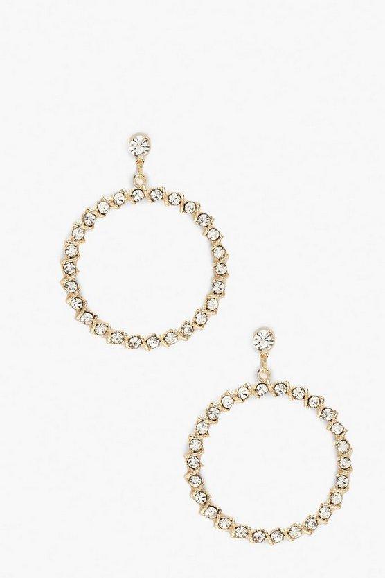 Open Circle Diamante Earrings