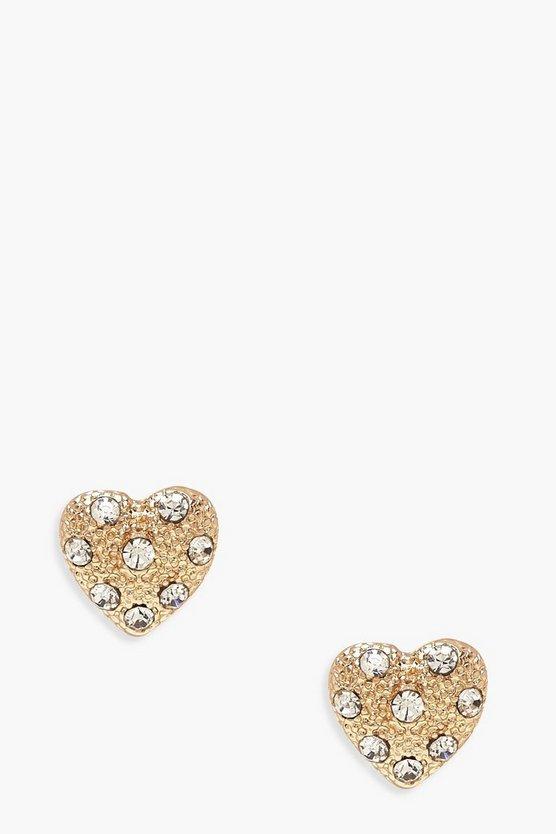Textured Heart & Diamante Studs