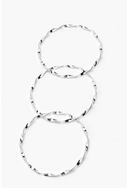 Womens Silver Twisted Bangle Multipack
