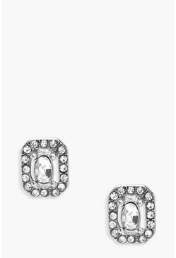 Jewel Detail Stud Earrings, Silver