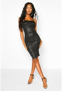 Womens Black Glitter Square Neck Cami Midi Dress