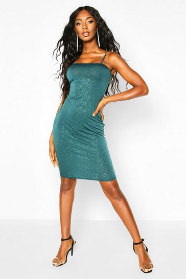 Womens Emerald Glitter Square Neck Cami Midi Dress