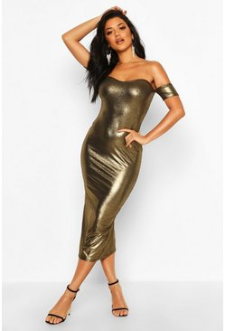 Womens Gold Metallic Off Shoulder Midi Dress