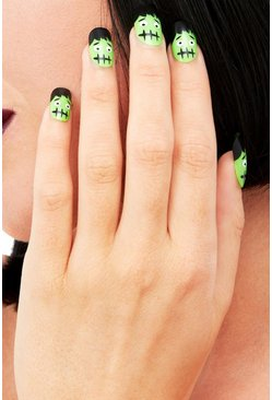 Womens Green Halloween Frankenstein Nails