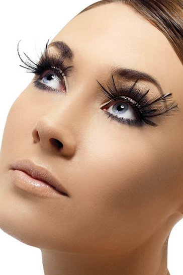 Womens Halloween Black Feather Eyelashes