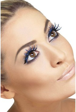 Womens Black Halloween Spiderweb With Glitter Lashes