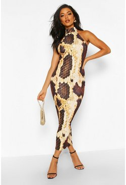 Brown Snake Print Halterneck Midaxi Dress