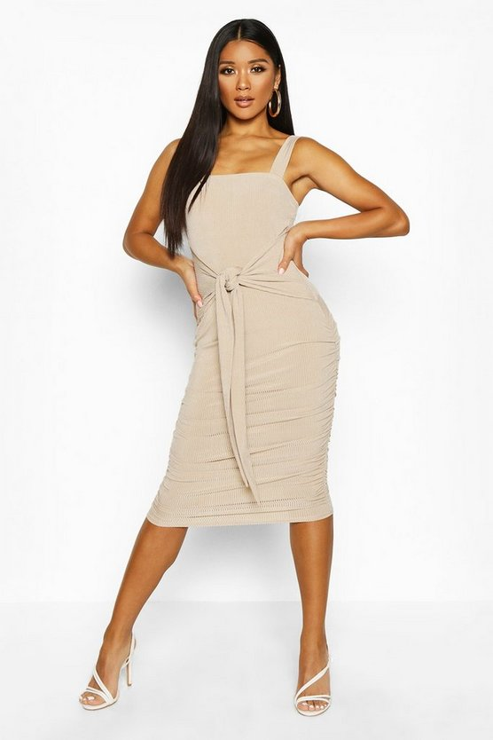 Stone Square Neck Slinky Rib Tie Midi Dress