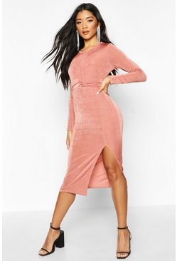 Champagne Textured Slinky Twist Detail Midi Dress