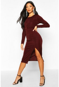 Chocolate Textured Slinky Twist Detail Midi Dress