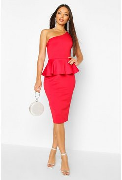 Womens Red Bonded Scuba One Shoulder Peplum