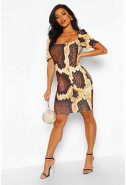 Womens Brown Snake Print Puff Sleeve Square Neck Mini Bodycon